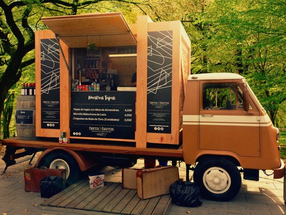 Food truck contenedor madera